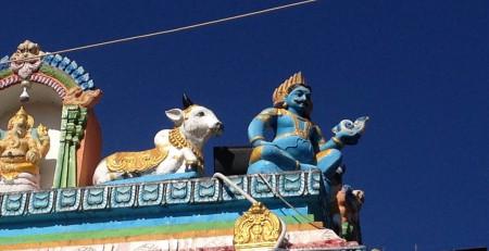 Winziger Ausschnitt eines detailreichen Hindu-Tempels