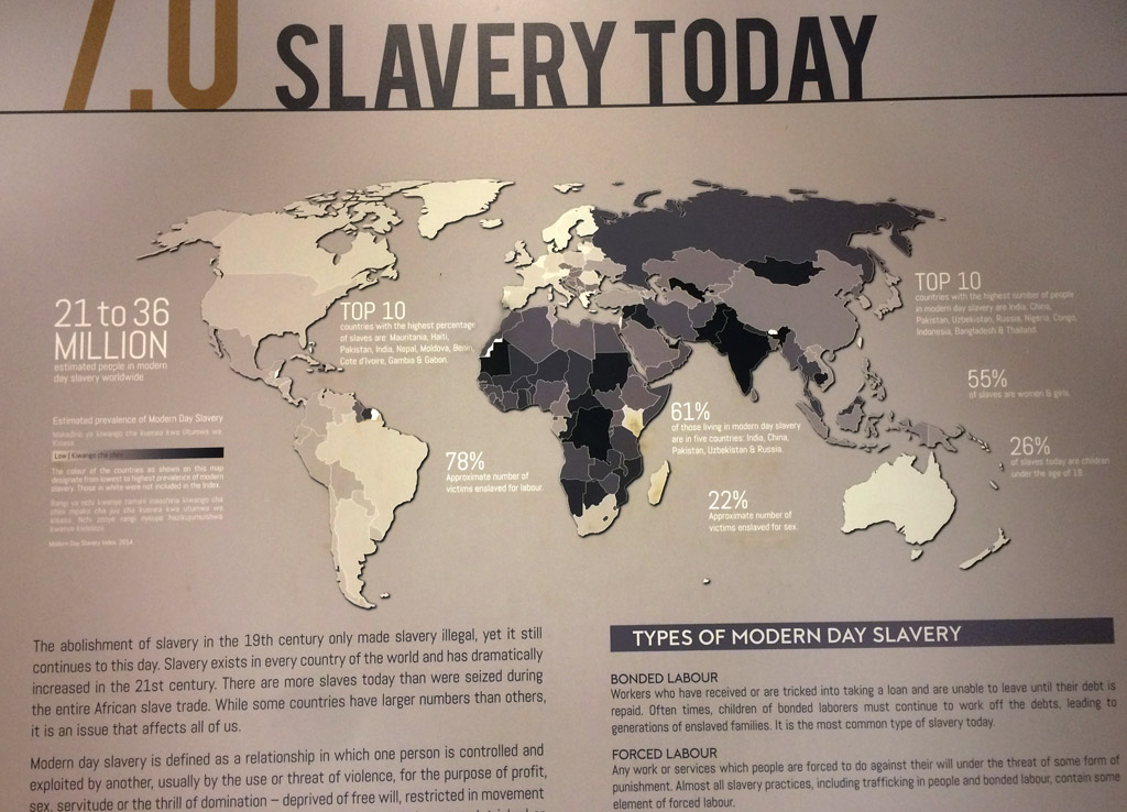 Zeigt eine Karte, auf der die Länder je nach Aufkommen von Sklaverei unterschiedlich markiert sind. Am meisten Sklaven gibt es in Mauritius, Haiti, Pakistan, India, Nepal ...