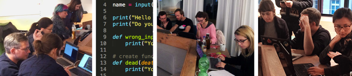 Impressionen vom PyLadies Meetup, Menschen vor Ihren Rechnern, beim diskutieren
